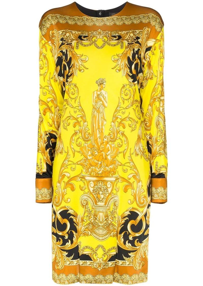 Versace baroque print long sleeve dress