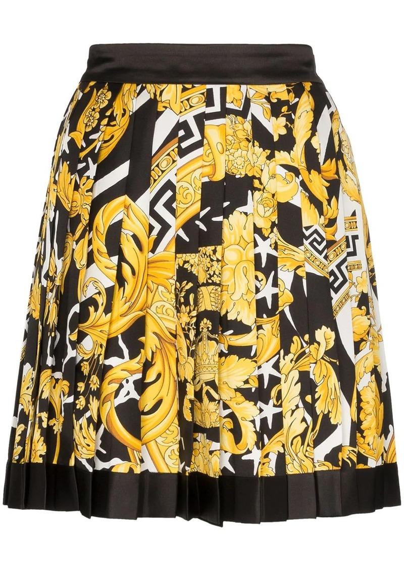 Versace Barocco print pleated mini skirt
