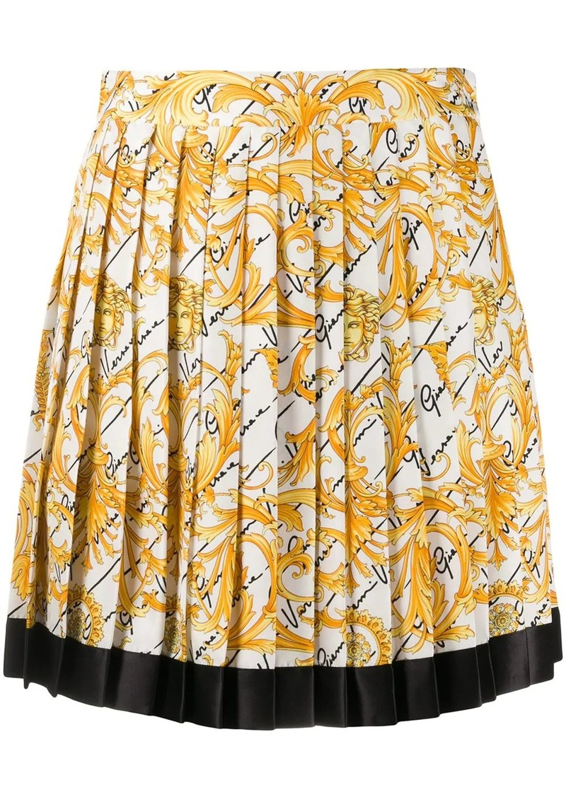 Versace Baroque print pleated silk skirt