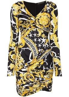 Versace Barocco print ruched mini dress