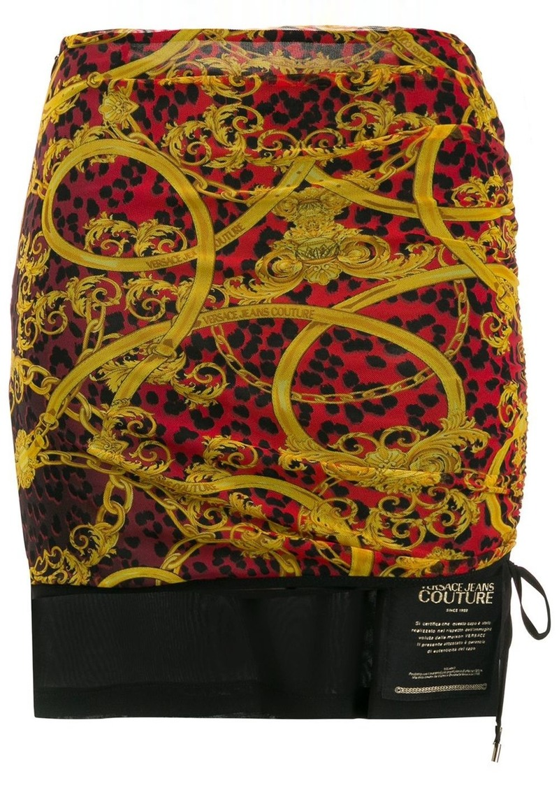 Versace baroque print ruched skirt