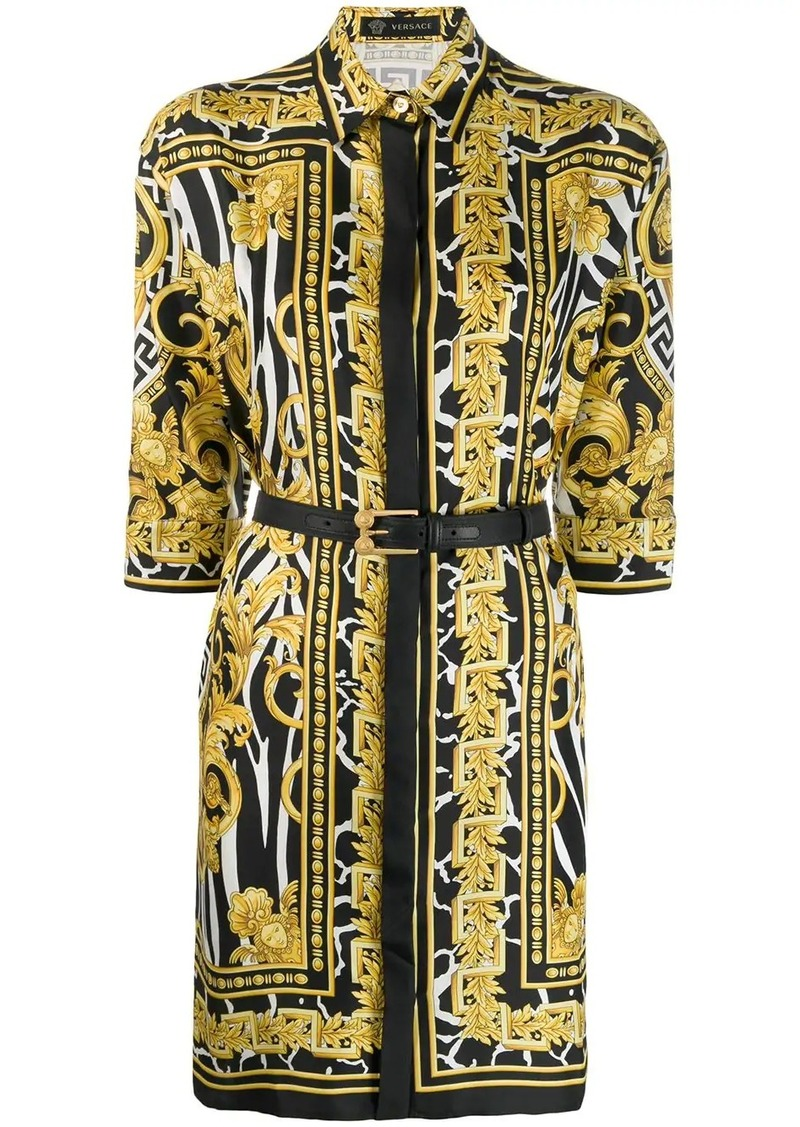 Versace Baroque print shirt dress