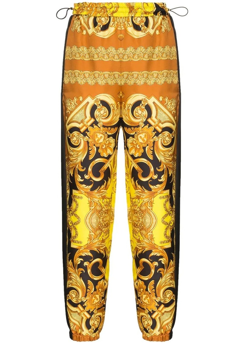 Versace Baroque-print silk track trousers