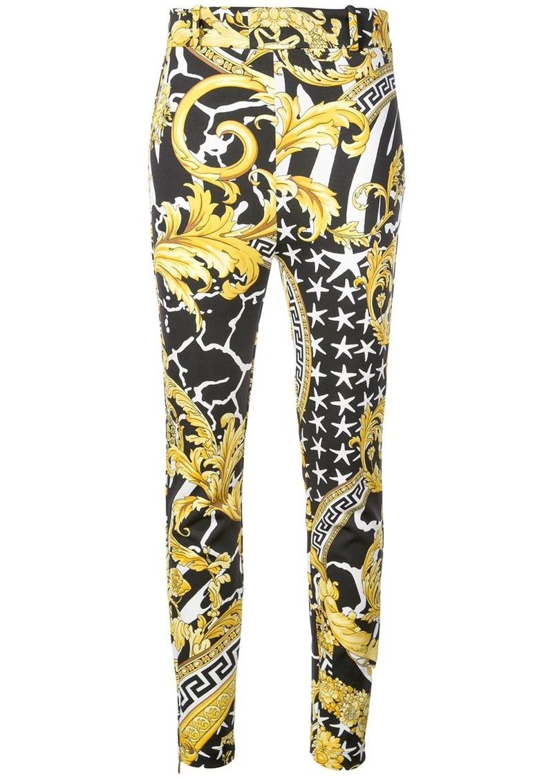 Versace Baroque-print skinny trousers