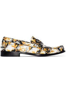 Versace Baroque-print slip-on loafers