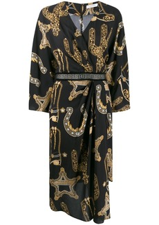 Versace baroque print wrap dress