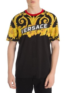Versace Baroque Speed Logo Contrast-Collar T-Shirt