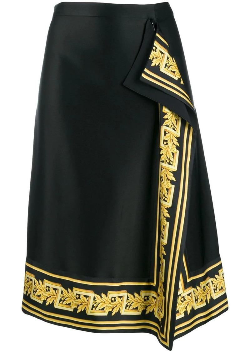Versace baroque trim midi skirt
