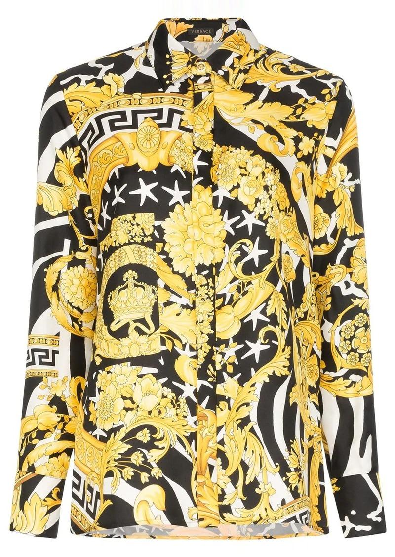 Versace baroque zebra-print shirt
