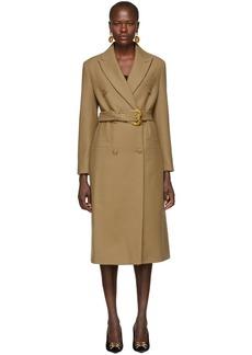 Versace Beige Double Breasted Long Coat