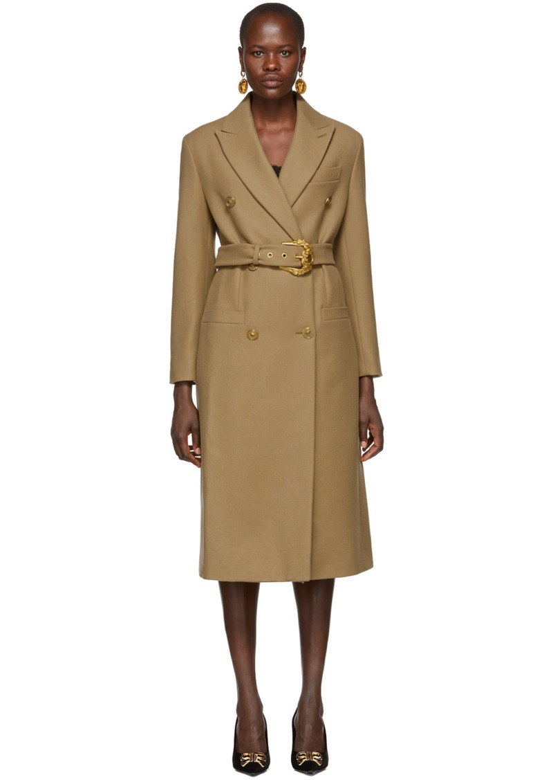 Versace Beige Double Breasted Long Coat