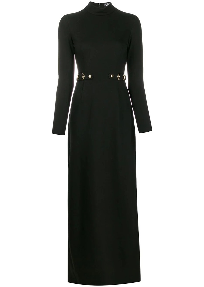 Versace belt detail fitted gown
