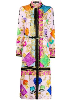 Versace belted cosmetic print dress