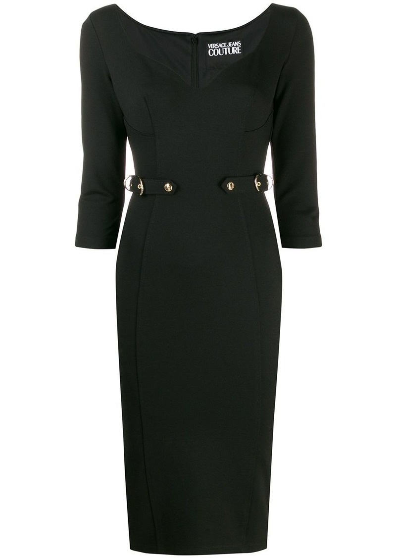 Versace belted fitted dress