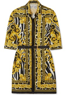 Versace Belted Printed Silk-twill Mini Dress