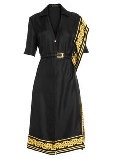 Versace Belted Scroll-Trim Silk Twill Shirt Dress