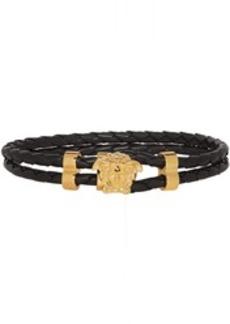 Versace Black & Gold Leather Medusa Wrap Bracelet