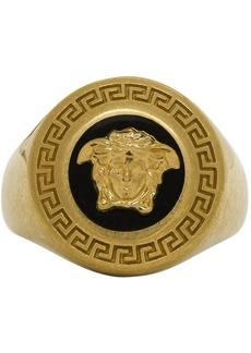 Versace Black & Gold Medusa Medallion Ring