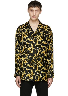 Versace Black & Gold Printed Pyjama Shirt