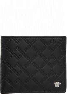 Versace Black & Silver Greek Key Wallet