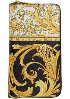 Versace Black & Yellow Barocco Long Zip Wallet