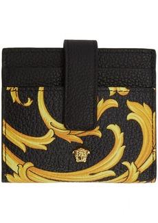 Versace Black & Yellow Barocco Medusa Card Holder