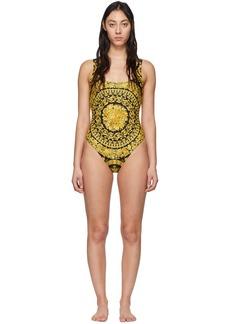 Versace Black & Yellow Barocco One-Piece Swimsuit