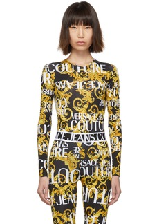 Versace Black & Yellow Baroque Logo Bodysuit