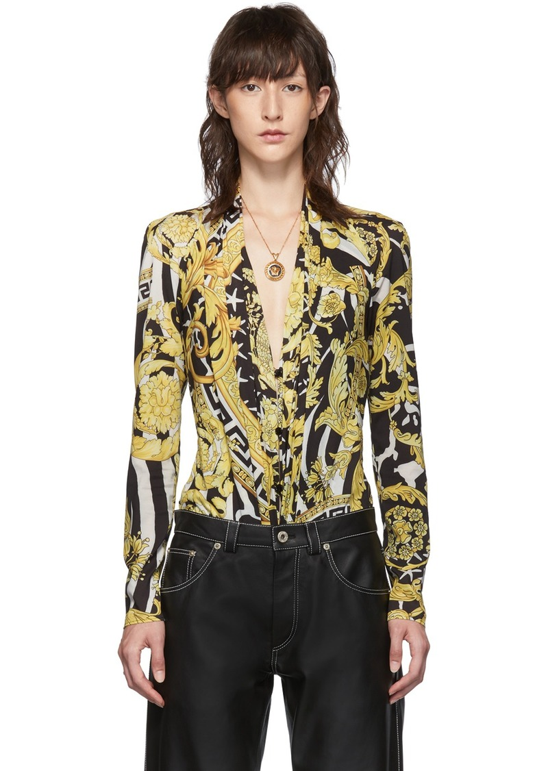 Versace Black & Yellow Heritage Stamp Deep-V Bodysuit