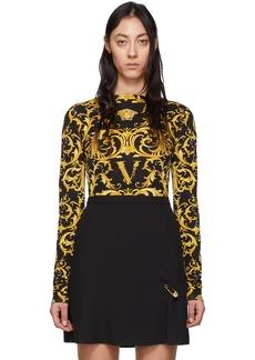 Versace Black & Yellow Wester Barocco Bodysuit