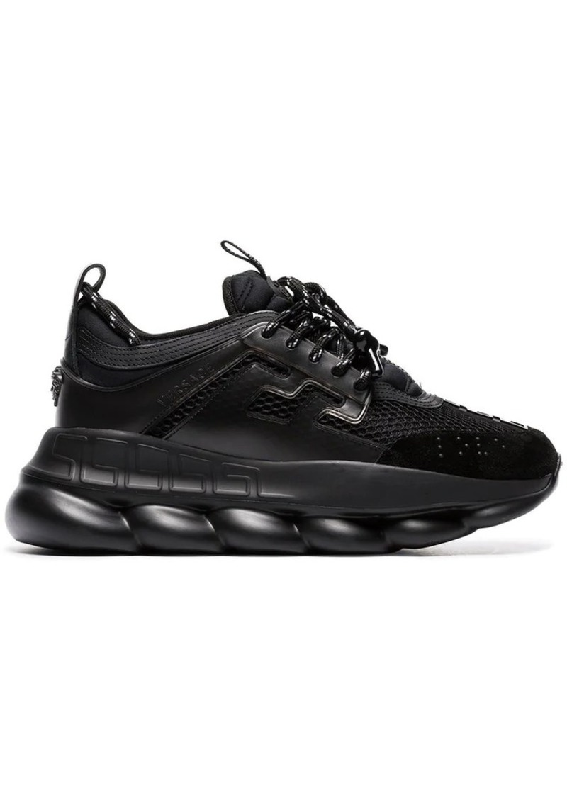 f5b00366a Versace black Chain Reaction chunky faux leather sneakers | Shoes