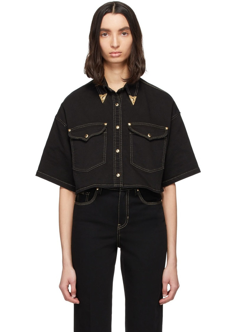Versace Black Denim Cropped Shirt