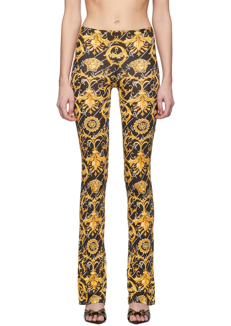 Versace Black Gianni Signature Barocco Leggings