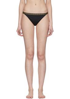 Versace Black Greek Key Bikini Bottoms