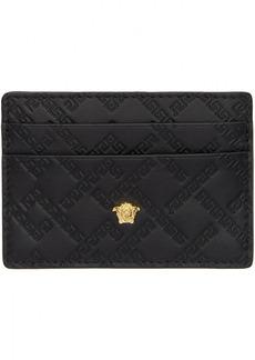 Versace Black Greek Key Card Holder