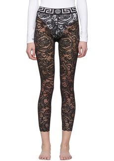 Versace Black Lace Barocco Leggings