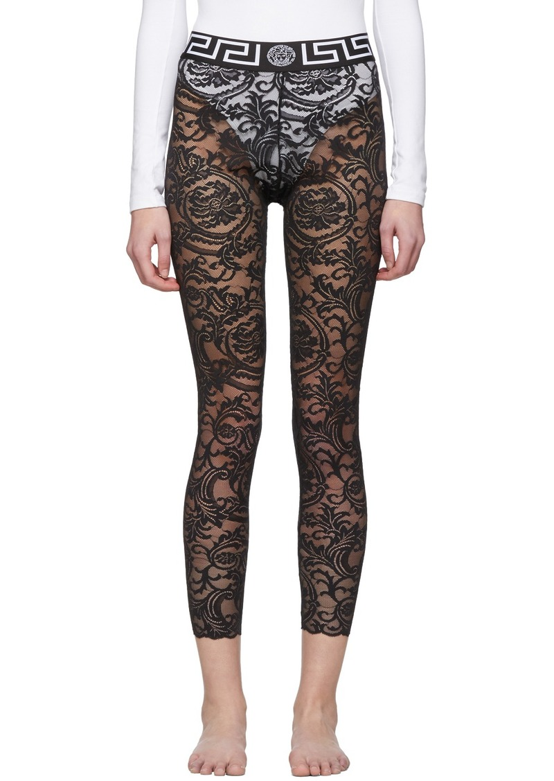 Versace Black Lace Barocco Leggings