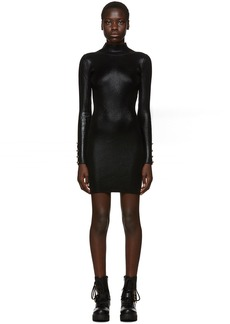 Versace Black Lamé Turtleneck Dress