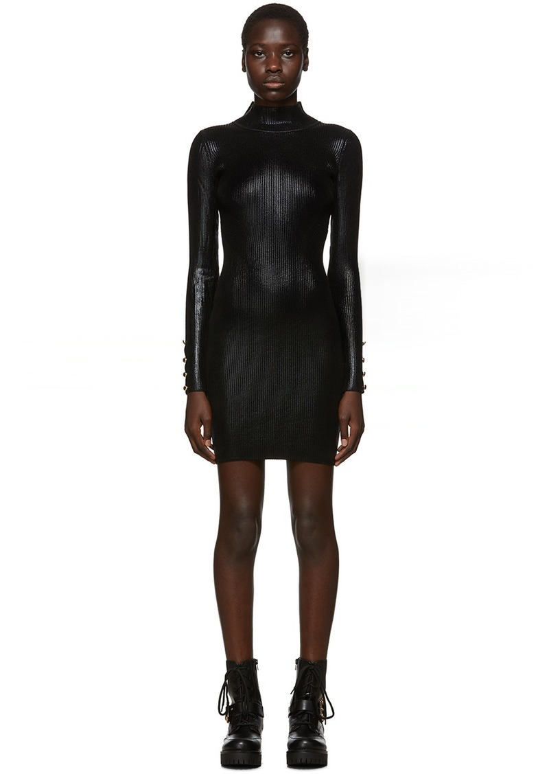 Versace Black Lamé Turtleneck Dress
