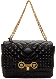 Versace Black Large Quilted Icon Bag