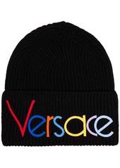 Versace black logo embroidered beanie hat
