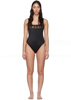 Versace Black Logo One-Piece Swimsuit