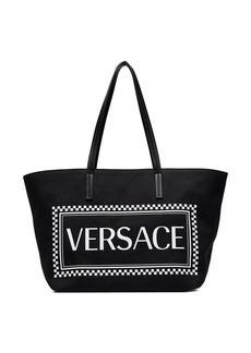 Versace black logo-print tote bag