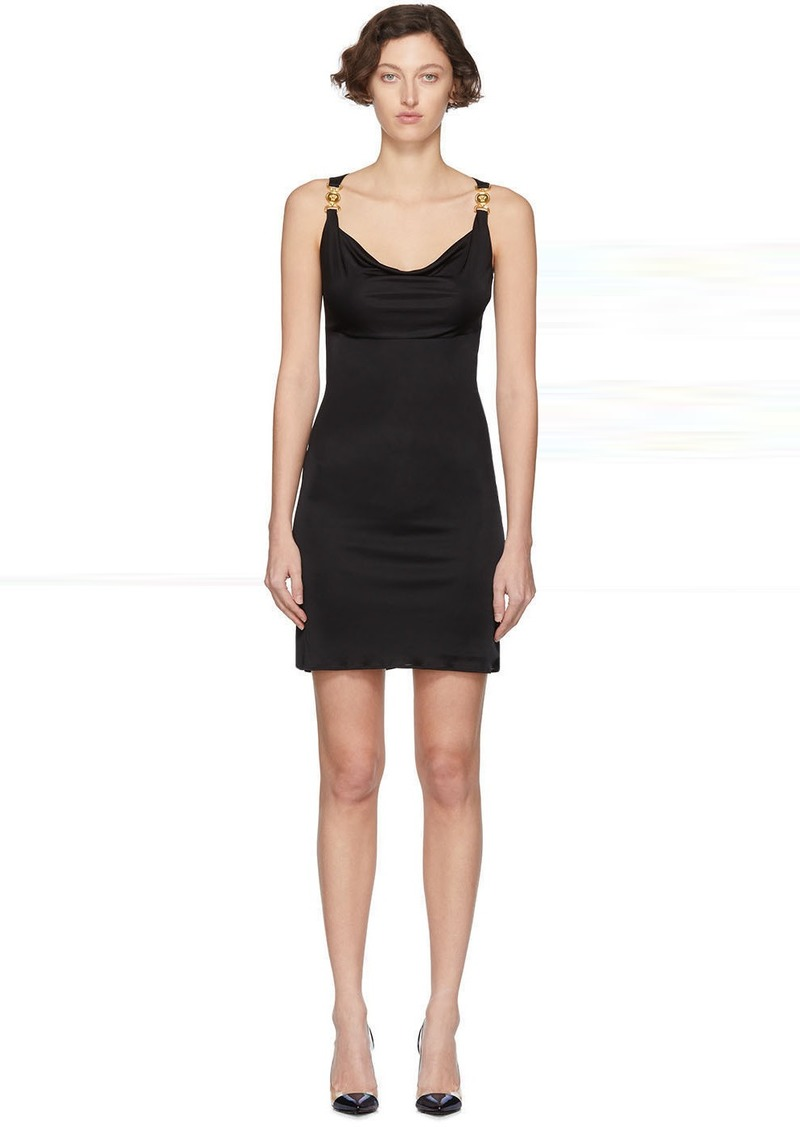 Versace Black Medusa Draped Dress