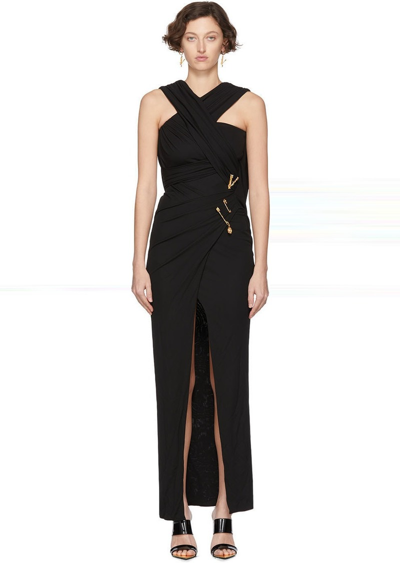 Versace Black Medusa Draped Long Dress