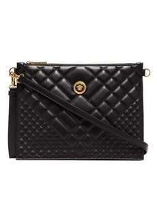 Versace black Medusa quilted leather clutch bag