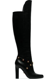 Versace black medusa stud 100 leather over the knee boots