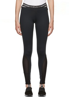 Versace Black Mesh Greek Key Leggings