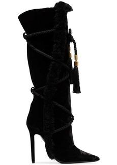 Versace black Pillow Talk 110 braided velvet knee high boots