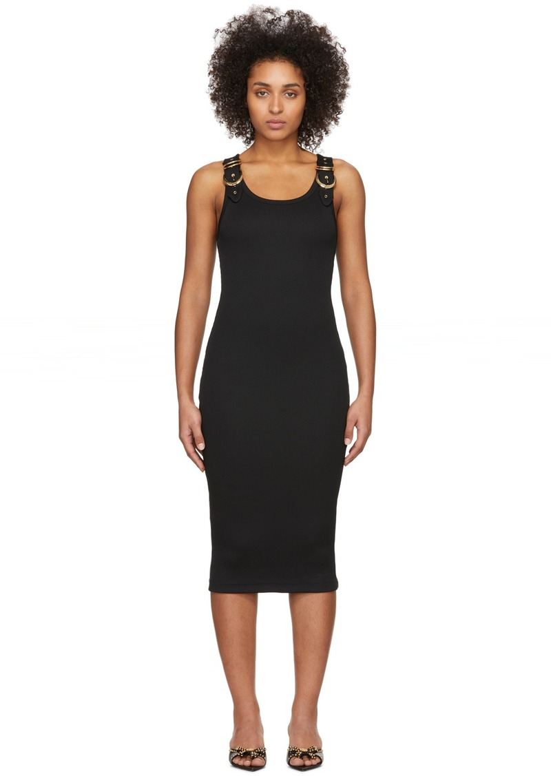Versace Black Rib Buckles Dress